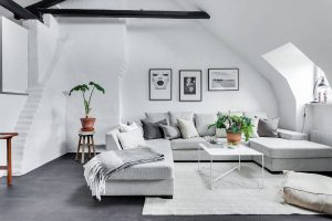 Decoración de interiores en blanco y gris