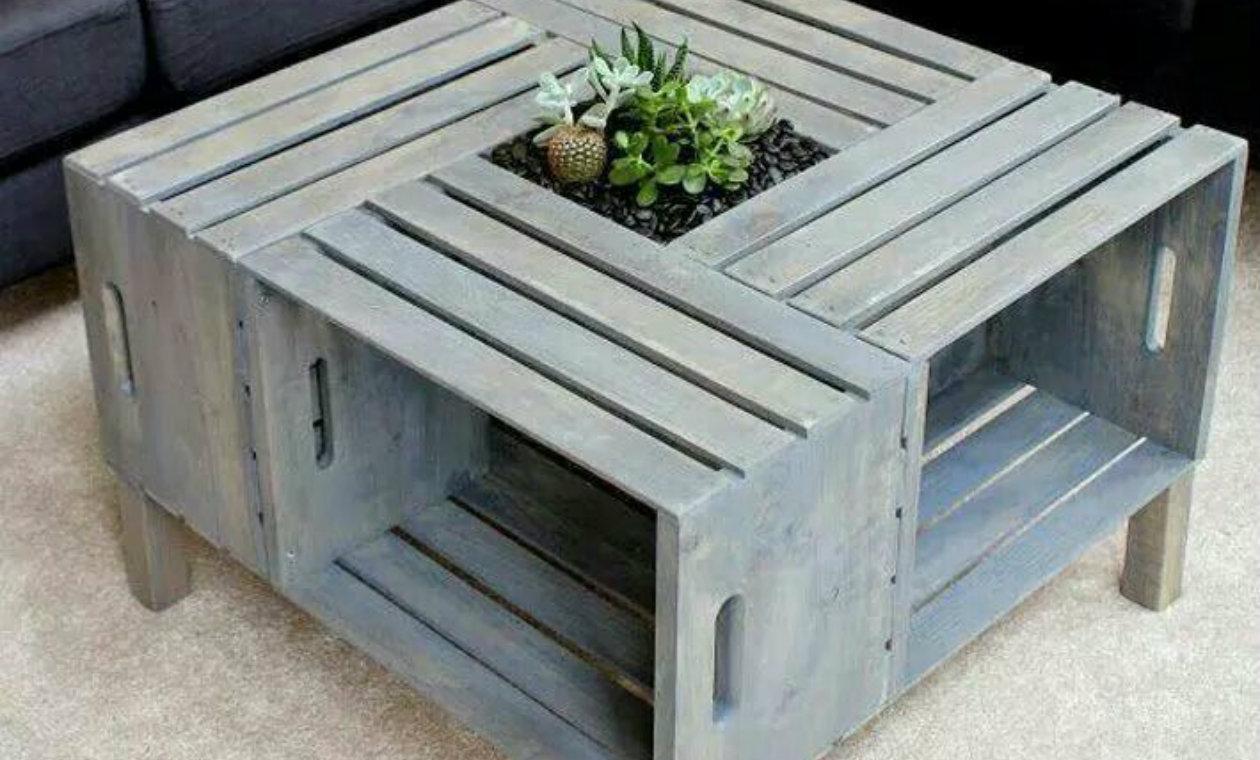 Mesas auxiliares cajón reciclable