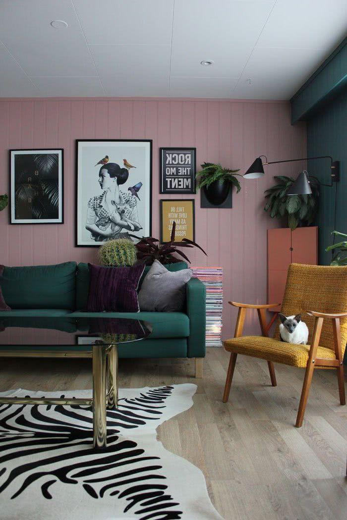 pintura verde decoración rosa
