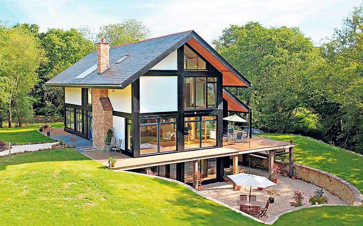jardin casa ecologica ventanales bosque