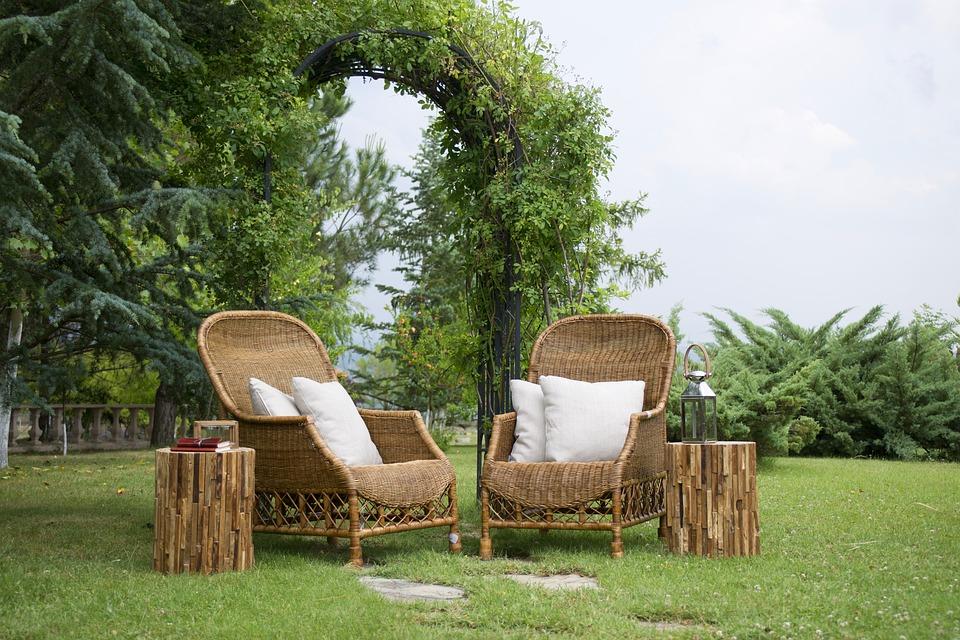 jardin de muebles de bambu