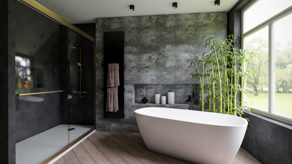 bañera al lado de ventana con bambú