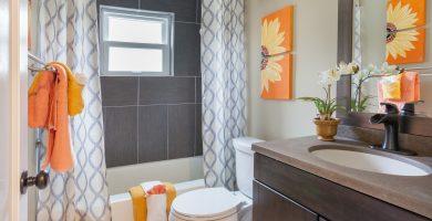 cortina de baño flores decoracion