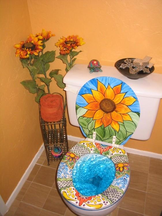 decoracion flores baño inodoro