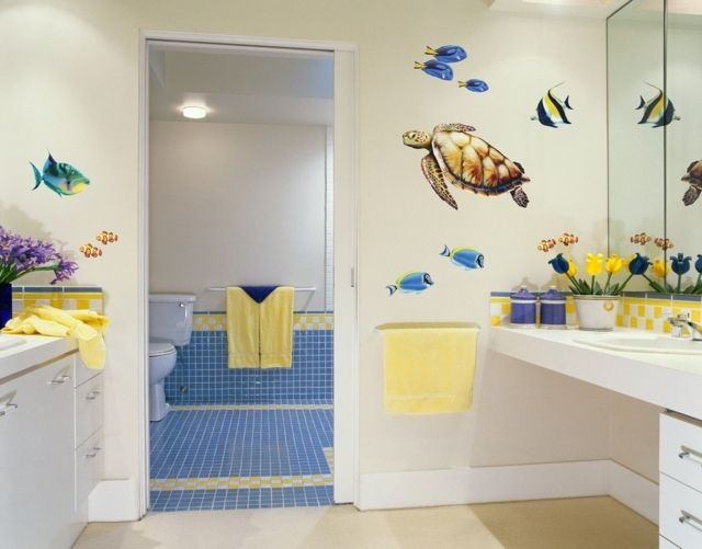 baños niño azul colores