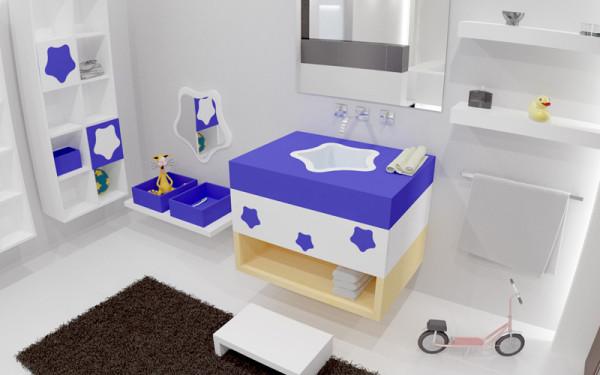 colores azul blanco baños decoracion niños