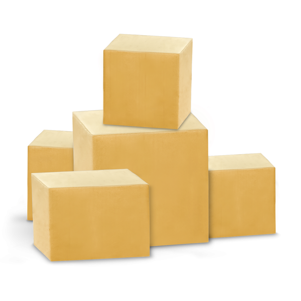5 cajas de cartón cerradas
